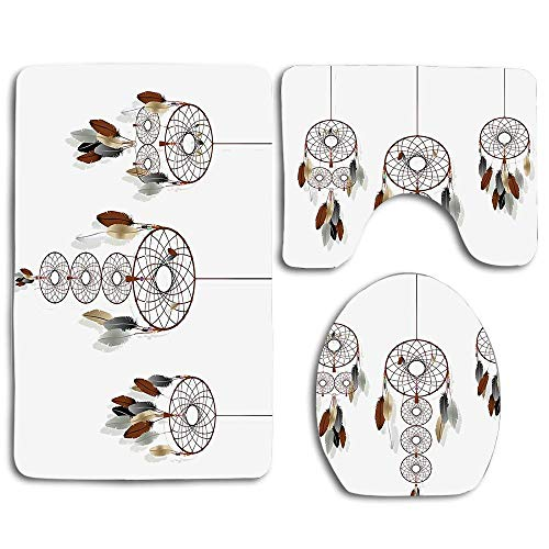 EnmindonglJHO Indian Boho Dreamcatcher Collection Mystic Psychedelic Ethnic Band Group Indie 3pcs Set Rugs Skidproof Toilet Seat Cover Bath Mat Lid Cover Cushions - Collection Dreamcatcher