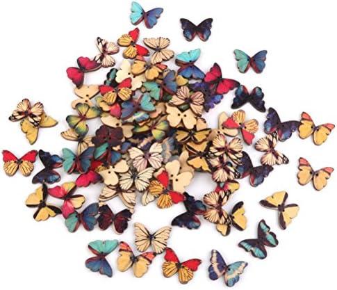 ROSENICE 木製蝶ボタン 手芸材料 縫製 100ピース