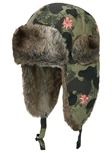 Amoeba Acrylic - ililily Flower Camo Faux Fur Lining Cotton Aviator Trapper Trooper Pilot Hat, Olive Drab