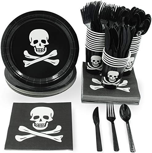 Pirate Party Supplies – Serves 24 – Includes Plates, Knives, Spoons, Forks, Cups and Napkins. Perfect Pirate Birthday Party Pack for Kids Parties. -