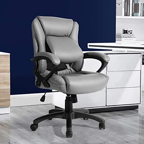 FurnitureR Silla Ejecutiva Giratoria de Oficina Lo último en diseño de confort, computadora de oficina en el hogar, silla giratoria para carreras, silla de escritorio con acolchado de cuero de PU con Leg Gris
