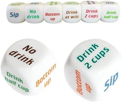 Inglés Potable Vino Juegos De Dados para Adultos Juego Amantes Pub Bar Bebida del Partido Decididor Dados: Amazon.es: Juguetes y juegos