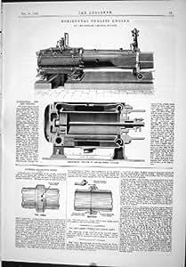 Impresión Antigua del Motor Horizontal Juan Cochrane de Corliss 1889 Dren-Tubos de Archer Que Dirigen
