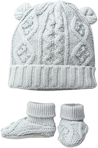 Toby & Company Baby Nygb Cable Knit Hat & Booties Set, Cloud Newborn