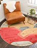 Unique Loom Fars Collection Tribal Modern Casual Red Round Rug (6' x 6')
