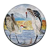 Tsjkwo The Dance Sandhill Cranes Design Rug Non-Skid Rubber Backing Area Rug for Living Room/Dining Room/Bedroom/Foyer/playroom Diameter