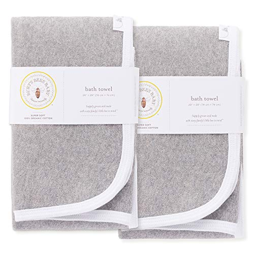 (Burt's Bees Baby - Organic Towels, 2-Pack Absorbent Knit Terry, Super Soft Single Ply, Heather Grey)