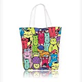 Canvas Tote Bag Animals Drawn Colorful Cats with Hats Glasses Chlothes Comics Like Image Multicolor Hanbag Women Shoulder Bag Fashion Tote Bag W11xH11xD3 INCH