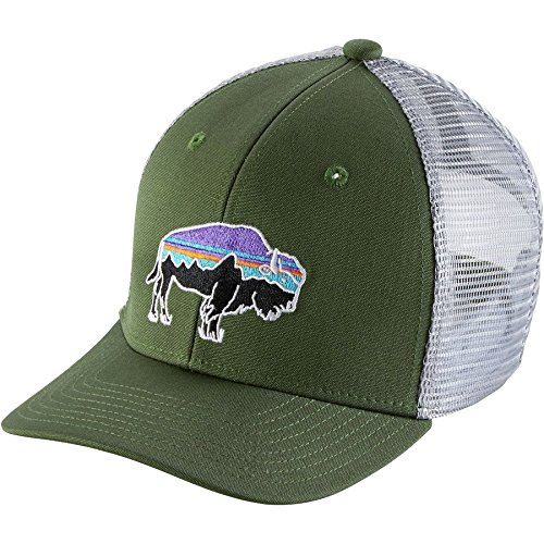 ker Hat (Fitz Roy Bison Buff Grn, One Size Fits All) (Patagonia Sun Hat)