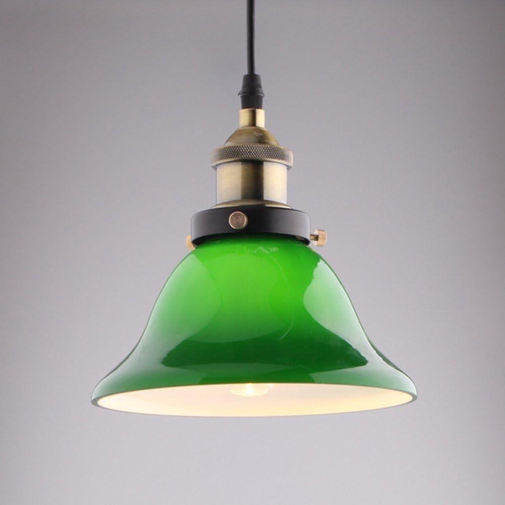 Pointhx Clásica elegante verde esmeralda colgante lámpara de luz Industrial Retro vintage lámpara colgante de metal techo interior iluminación decorativa para cafetería bar bodega