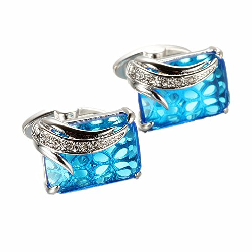 Design Mens Cufflinks (WaMLFac Unique Design Stylish Modern Luxury Crystal Blue Stone Cufflinks for Shirt Wedding Business)