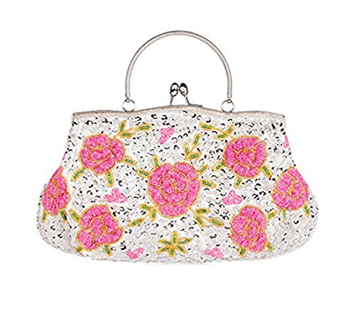 Handbag Beaded Vintage Silver Women's Clutch Mogor Evening Flower Tote Bag qxtZg5Cw
