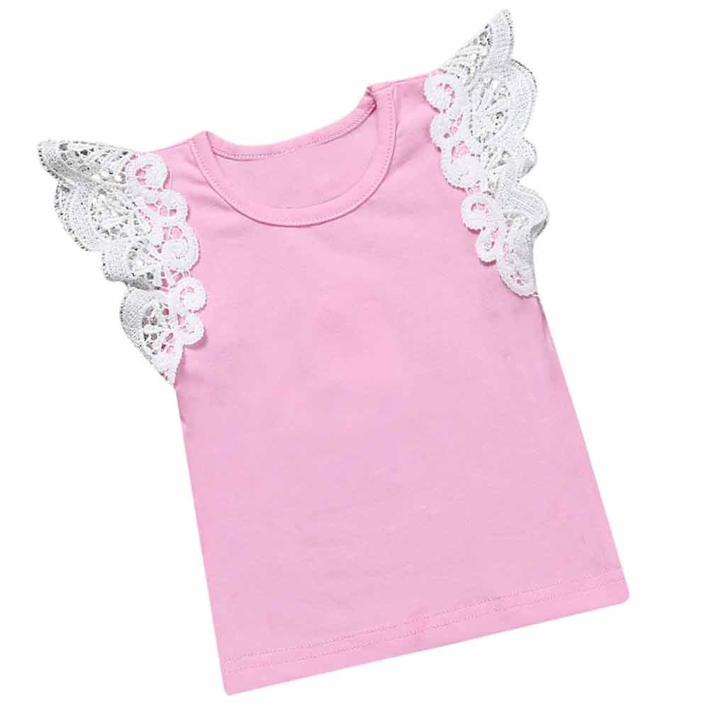Summer Baby Kids Girls Lace Blue Purple Sleeveless O Rong BFF T-Shirt Tee Mary ye