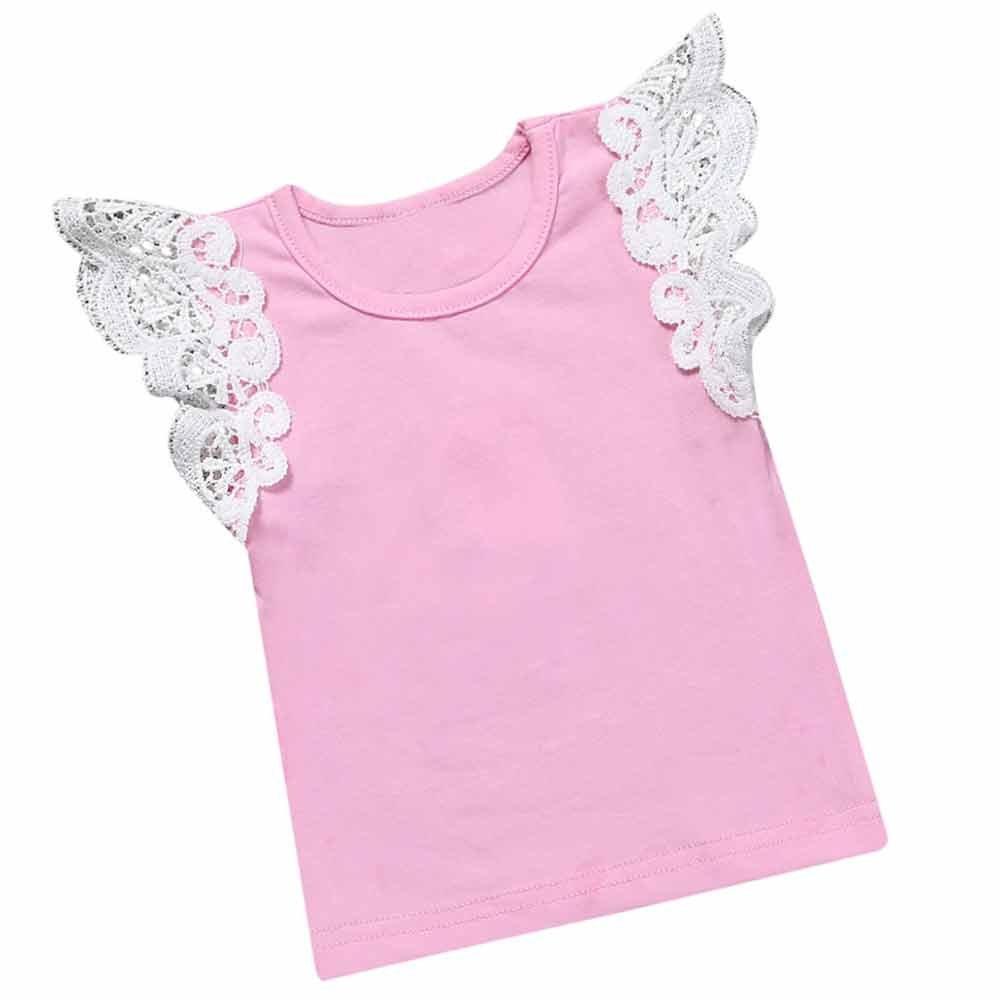 Summer Baby Kids Girls Lace Blue Purple Sleeveless O Rong BFF T-Shirt Tee Mary ye