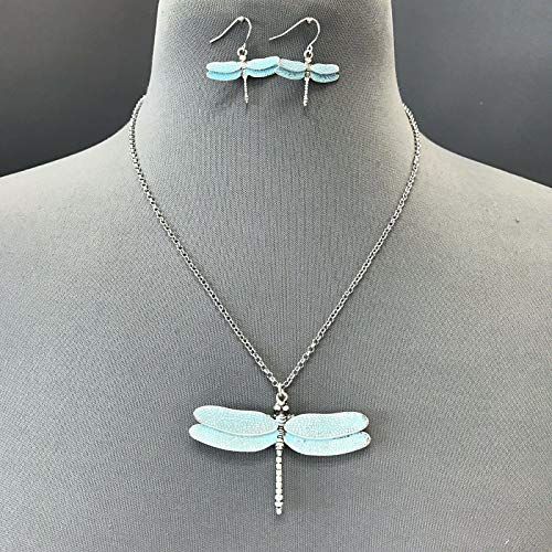 Unique Burnished Silver Turquoise Metal Dragonfly Pendant Necklace With Earrings LL-4162