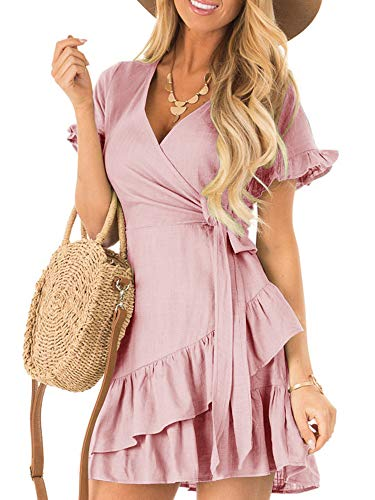 Kathemoi Womens Ruffle Dresses Summer Cute V Neck Short Sleeve Beach Wrap Mini Dress Pink