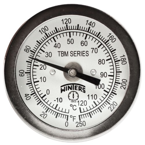 Winters TBM Series Stainless Steel 304 Dual Scale Bi-Metal Thermometer, 4'' Stem, 1/4'' NPT Fixed Center Back Mount Connection, 2'' Dial, 0-250 F/C Range by Winters Instruments
