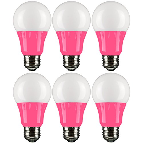 (Sunlite A19/3W/P/LED/6PK LED Colored A19 3W Light Bulbs with Medium (E26) Base (6 Pack), Pink)