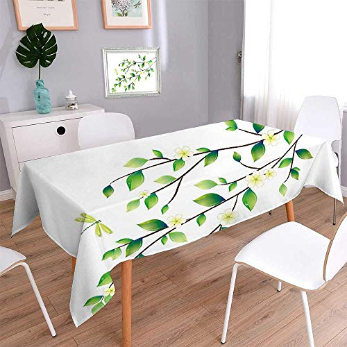 PINAFORE HOME Decorative Jacquard Rectangle Tablecloth Green Leaves with Dragonfly 100% Polyeste, Machine Washable/Rectangle, 60 x 104 Inch