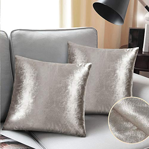 (Velvet Pillow Covers Gold Brown Glam Shiny Silver Gray Couch Pillow Cases 18x18 Taupe Sofa Throw Pillow Cover Champagne Tan Bed Cushion Cover Bling 2 Set Square Living Room Accent)