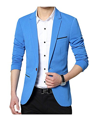 GEEK LIGHTING Slim Fit Single One Button Blazer Jackets for Men (US X-Small/Label X_Large, A-Blue)