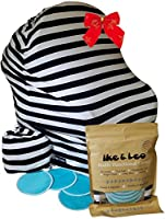 Premium Baby Car Seat Cover Set By Ike & Leo - Multipurpose Stretchy Baby Cart Canopy -Breastfeeding Cover - Lightweight & Breathable - Black & White Classic Stripes Design - Bonus Bamboo Nursing Pads