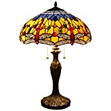 Tiffany Style Table Lamp Desk Beside Lamps 24 Inch Orange Blue Stained Glass Shade Crystal Bead Dragonfly 2 Light Antique Zinc Base for Living Room Bedroom Coffee Table S168 WERFACTORY
