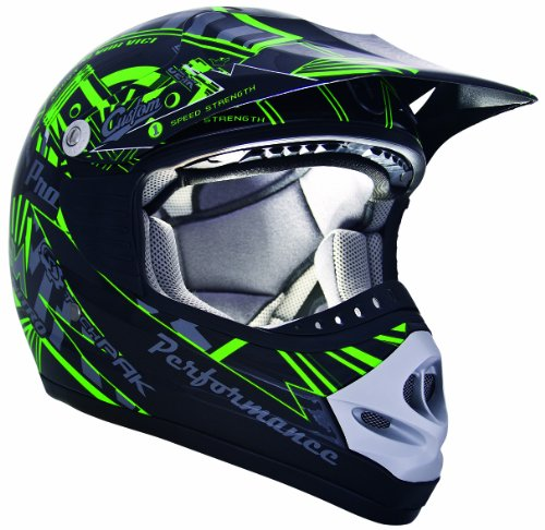 - CKX 183962 TX-218 Pursuit Juniors/ Kids/ Youth Full Moto Helmet, Green/Black, Small