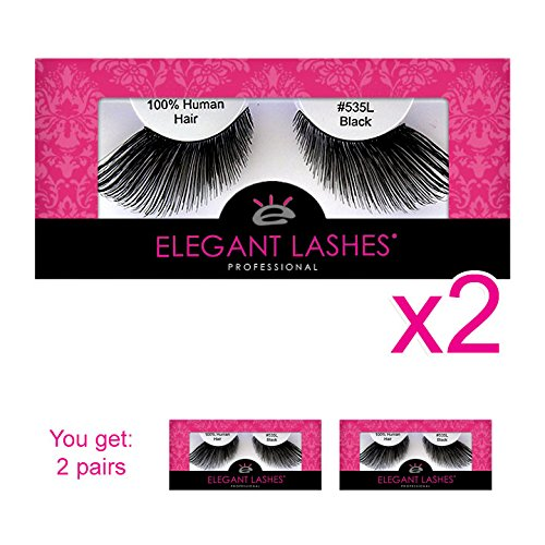 Elegant Lashes #535L | Drag Queen Halloween Thick Long Black 100% Natural Human Hair False Eyelashes for Queen Halloween SFX Dance Costume (Pack of -