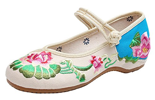 Old Womens Shoes Embroidery AvaCostume Lotus Jane Mary Flats Beijing Beige xtawHd