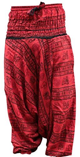 Pantalón Cómodo De Pantalones Hippy Harén Shopoholic Yoga Genial Om Fashion Estampado Rojo Holgado qxRZ8w