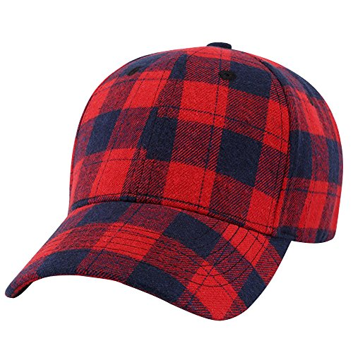 Plaid Ball Cap (TWGONE Womens Beret Hats Baseball Plaid Cap Snapback Hat Hip-Hop Adjustable(One Size,Red))