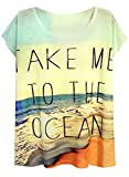 ocean clothing - Futurino Women's Take Me to The Ocean Print Short Sleeve Tops Tee Shirt
