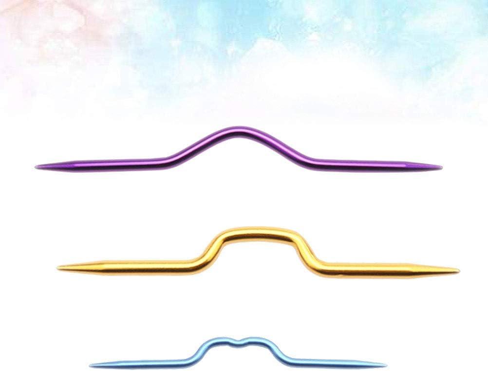 Artibetter 9pcs herramienta de tejer su/éter ganchos agujas de tejer agujas de agujas torcidas agujas de coser color al azar