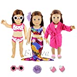 Barwa 3 Sets Summer Clothes Outfits Mermaid Dress and Swimsuits Set Pink Pajamas with Slippers for 18 inch American Girl Doll