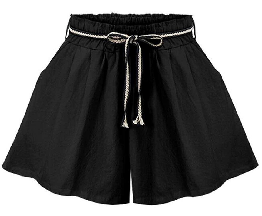 BYWX Women Summer Solid Color Loose High Waisted Belted Wide Leg Shorts