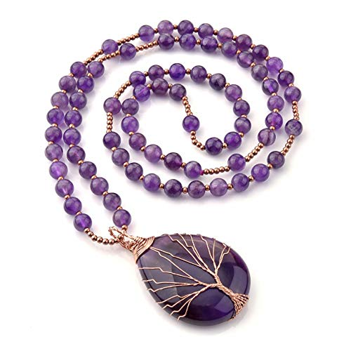 Top Plaza Natural Stone Beads Healing Crystal Amethyst Necklace Tree of Life Wire Wrapped Teardrop Gemstone Pendant Jewelry for Womens Girls Mother