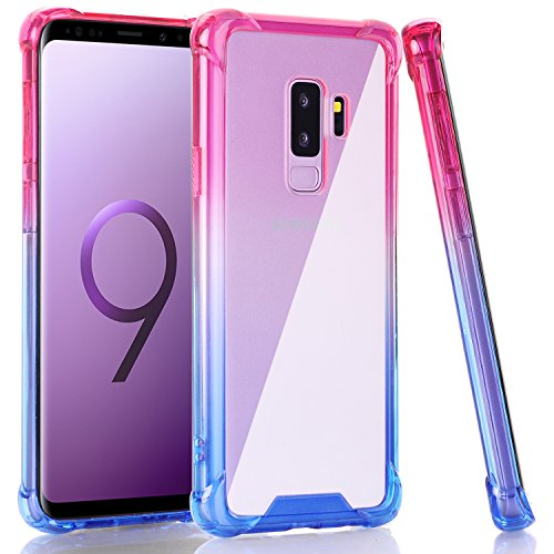 Galaxy S9 Plus Case, BAISRKE Hot Pink Blue Gradient Shock Absorption Flexible TPU Soft Edge Bumper Anti-Scratch Rigid Slim Protective Cases Hard Plastic Back Cover for Samsung Galaxy S9+ Plus