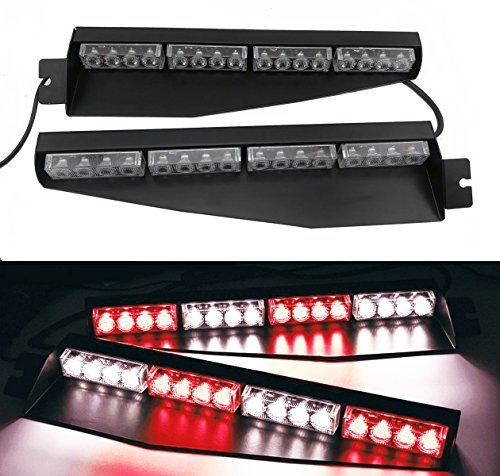 TASWK 32LED 32W LED Lightbar Visor Light Windshield Emergency Hazard Warning Strobe Beacon Split Mount Deck Dash Lamp (Red and White)