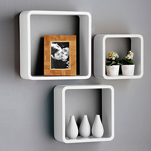 Kinbor White Floating Wall Shelf Square Wood Shelves Wall Organizer,Set of 3,Perfect for Picture Frames,Collectibles,Decorative items,Trophy Display Review
