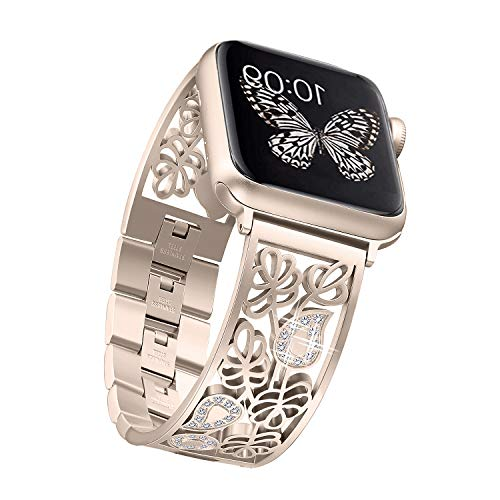 Secbolt Carved Flower Bling Bands Compatible with Apple Watch Band 42mm 44mm iwatch Series 4/3/2/1, Stainless Steel Dressy Jewelry Diamond Bracelet Bangle Wristband Women, Champagne Gold