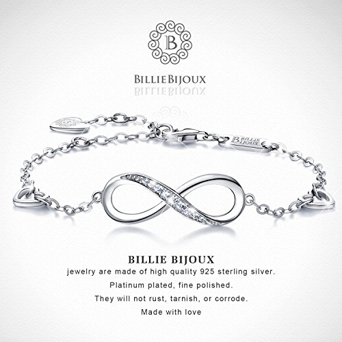 Billie Bijoux Womens 925 Sterling Silver Infinity Endless Love Symbol Charm Adjustable Bracelet Gift for Women Girls (A- Silver) by Billie Bijoux (Image #2)