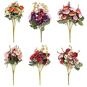 GSD2FF 21 Heads/Bouquet Silk Rose European Style Artificial Flower Bouquet Fake Flowers Wedding Home Party Decoration 12