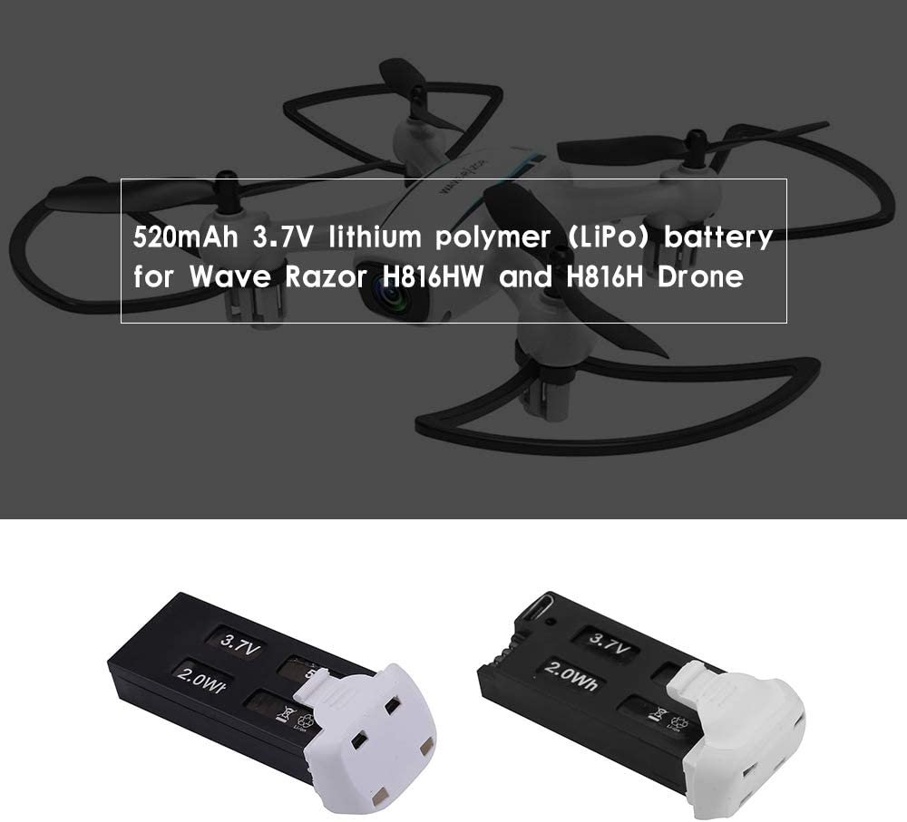 1-Pack WINGLESCOUT Battery for Drone,3.7V 520mAh Rechargeable LiPo Drone Extra Battery,Drone Battery for Wave-Razer H816HW H816H