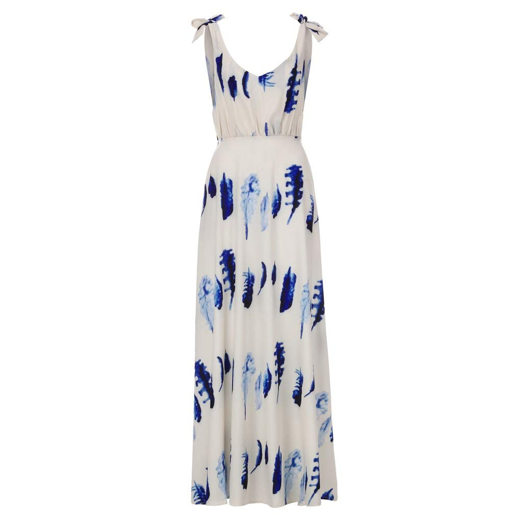 Ladies Strap Dress Summer V-Neck Halter Sundress Boho Print Cocktail Party Evening Beach Maxi Dress (XL, Blue)