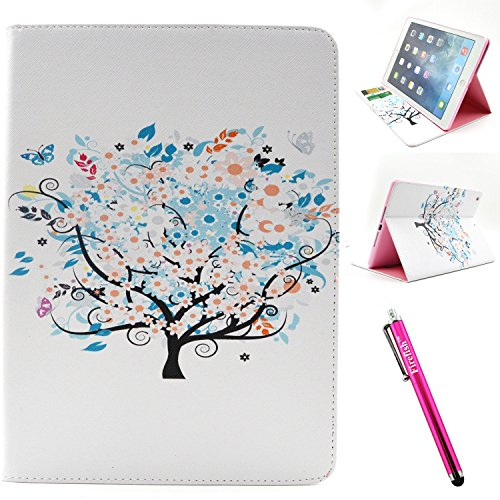 iPad Air Case, Firefish iPad Air Cover [Kickstand] [Bumper] Case Flip PU Leather Wallet with Card Slot Magnetic Closure Protect for Apple iPad Air - White-Tree