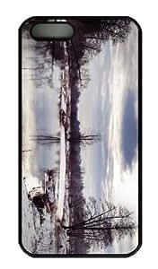 iPhone 5S Case - Customized Unique Design River Winter Scenery New Fashion PC Black Hard