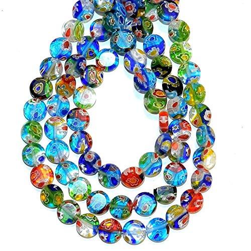 - Bead Jewelry Making Mosaic Multi-Color Flower 8mm Flat Round Millefiori Glass Beads 13