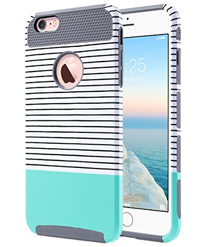 ULAK iPhone 6 Plus Case, iPhone 6s Plus Case, Slim Dual Layer Protection Scratch Resistant Hard Back Cover Shockproof TPU Bumper Case for Apple iPhone 6/6S Plus 5.5 inch-Minimal Mint Grey ()