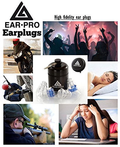 EAR•PRO TECH-High Fidelity Earplugs for Concerts,Musicians, Dj's,Drummers,Motorcycles,Sleeping,Shooting (2 earplug shell sizes for better fit in every order+with aluminum box+black zip case) by Ear-Pro Inc (Image #4)